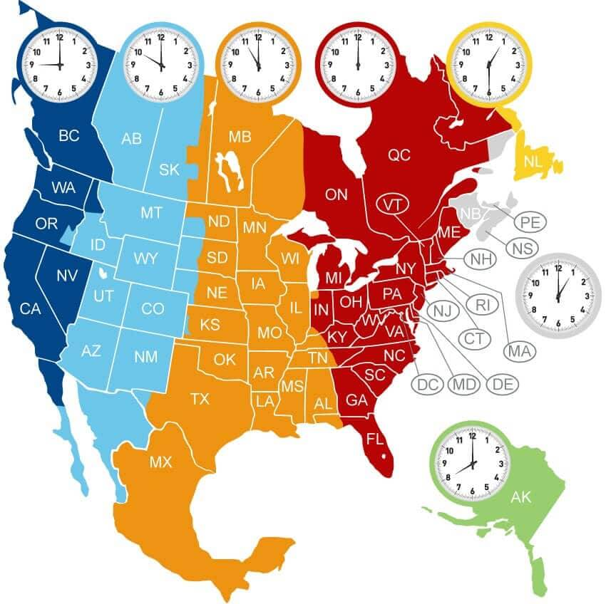 North-America-Time-zone-Map