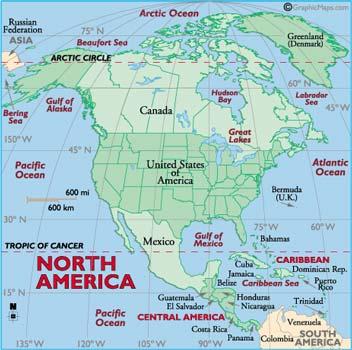 Seas in North America