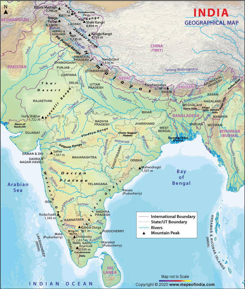 Indian Geographical Extent and Frontiers