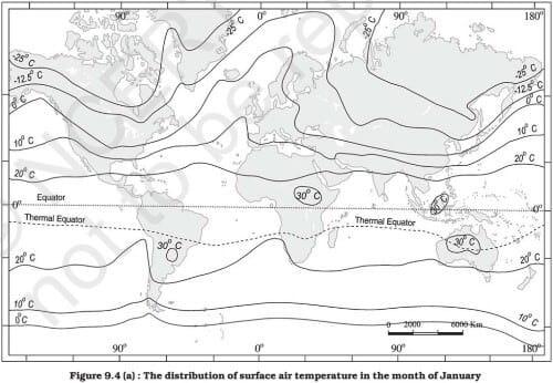 Horizontal Temperature Distribution of Oceans - January