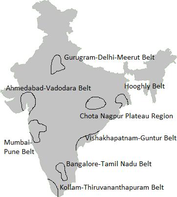 major industrial regions of India upsc