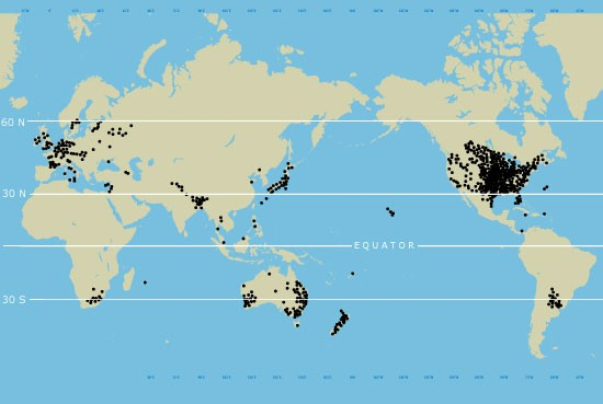 Distribution of Tornadoes in the world