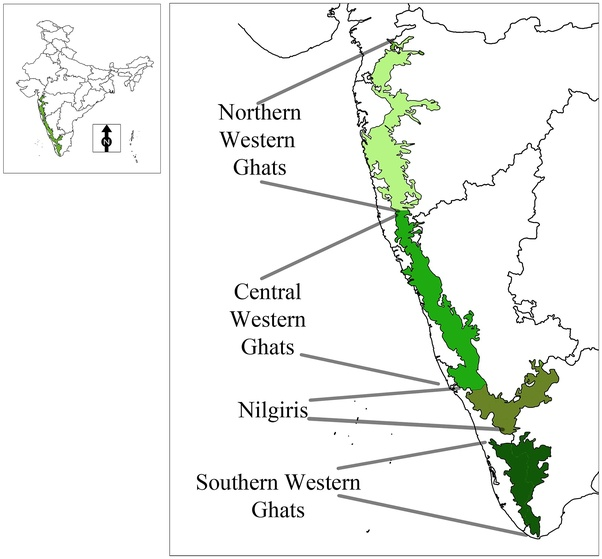 Northern Western Ghats, Central Western Ghats, Southern Western Ghats