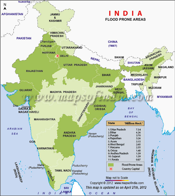 flood prone areas in india