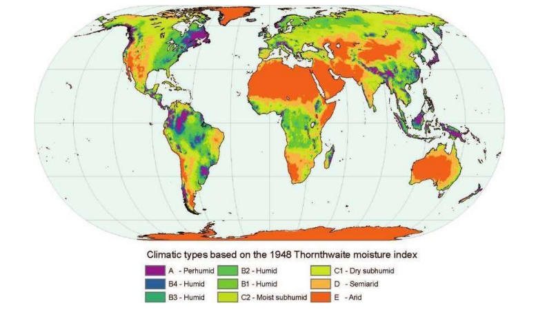 Thornthwaite Climatic Classification of the World