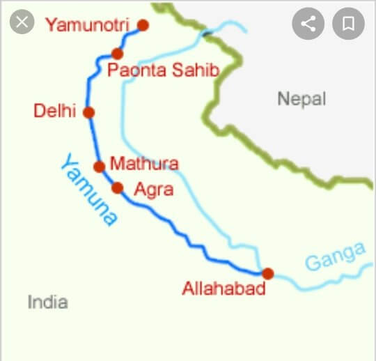 Important cities through which Yamuna passes