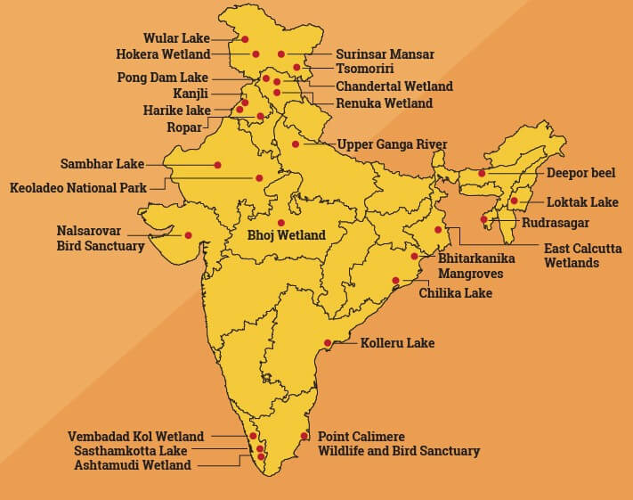 List of Ramsar Sites in India with Map