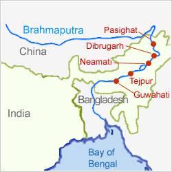 Important cities on Brahmaputra