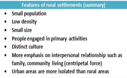 features of Rural Settlement