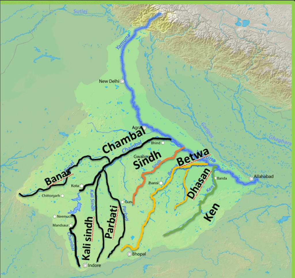 Yamuna river basin map