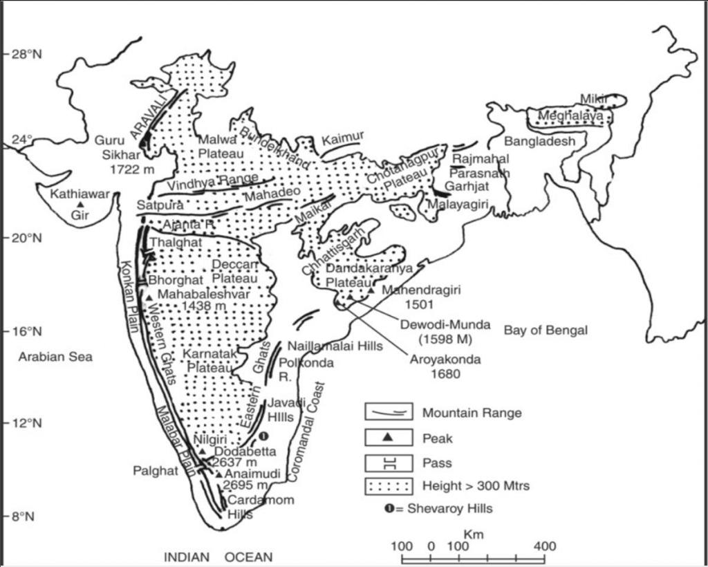 Indian plateau map