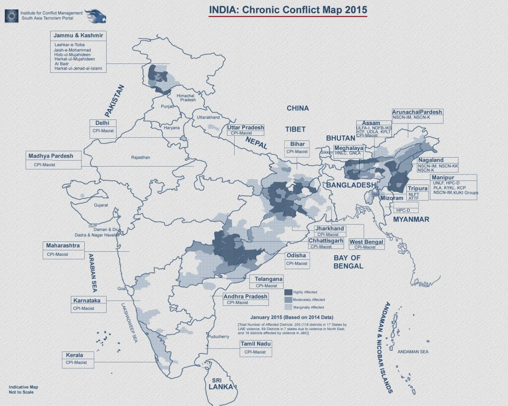 india chronic conflicts map - Cross Border terrorism in India