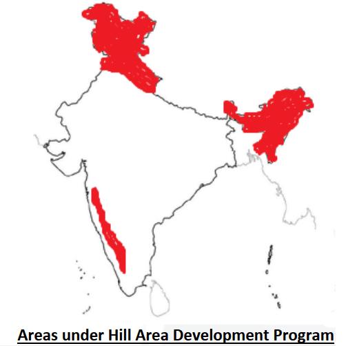 Areas under Hill Area Development Program
