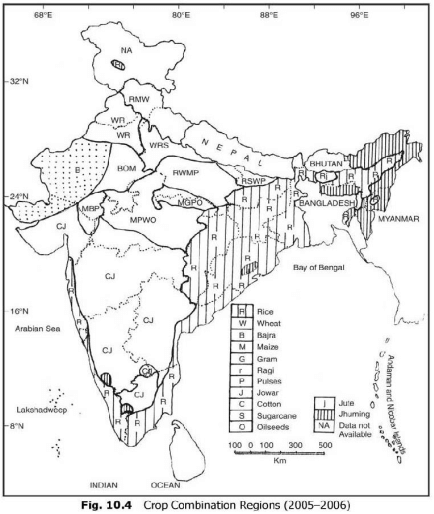crop combination regions in India UPSC