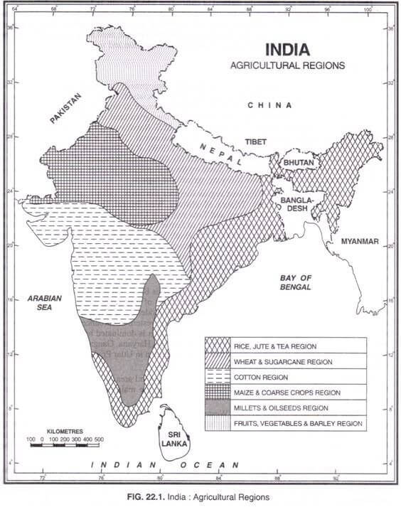 agricultural regions of India map