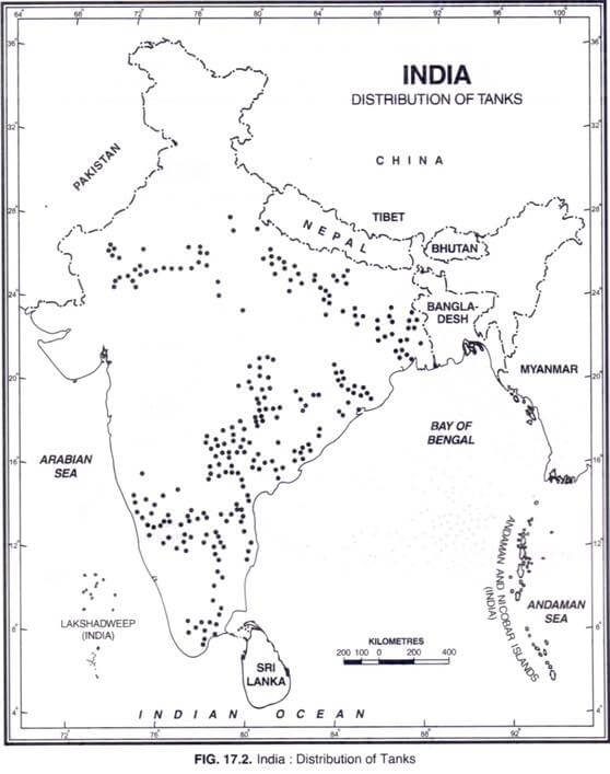 tank irrigation map of india