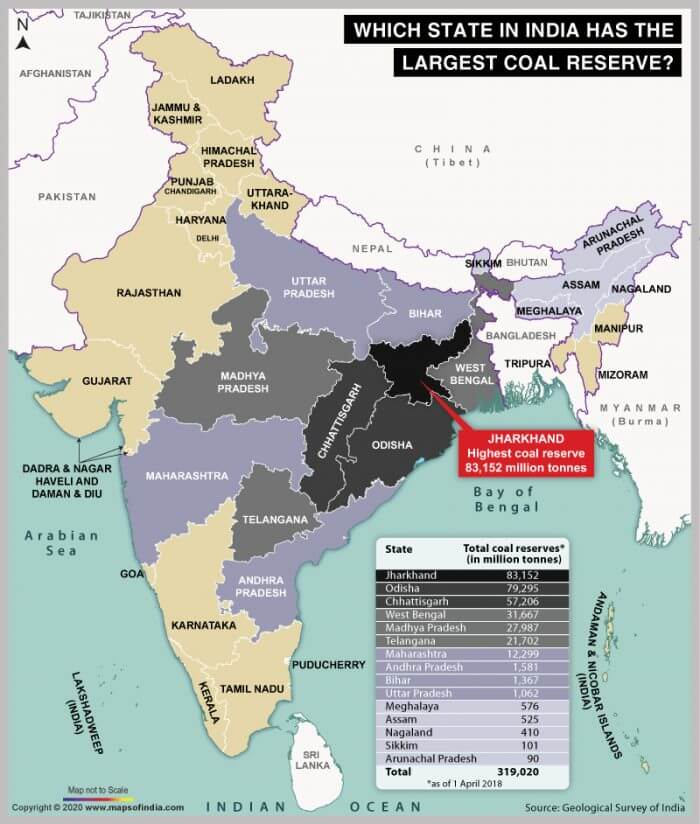 Coal Reserves in India by State