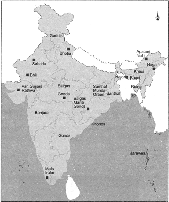 Indian-Tribes-UPSC-map