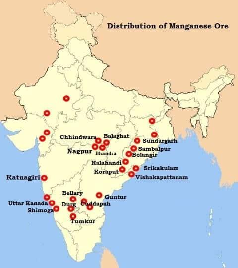 Manganese Ore Distribution in India - UPSC
