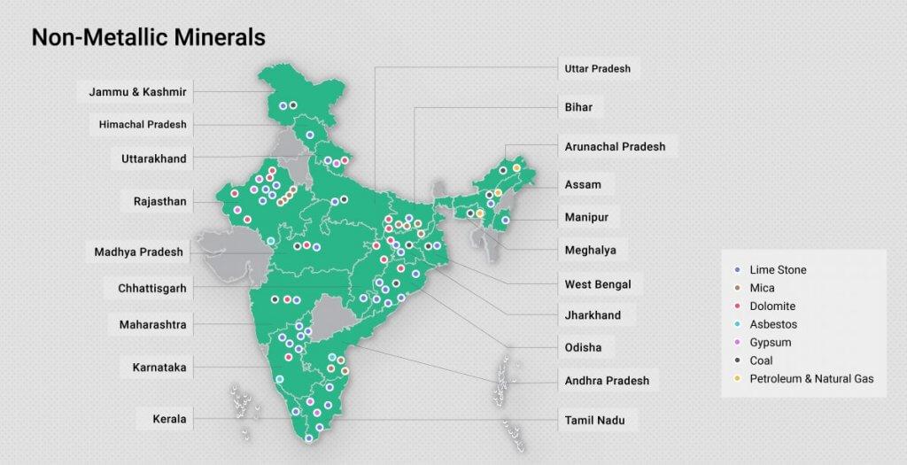 non-metallic minerals in India map