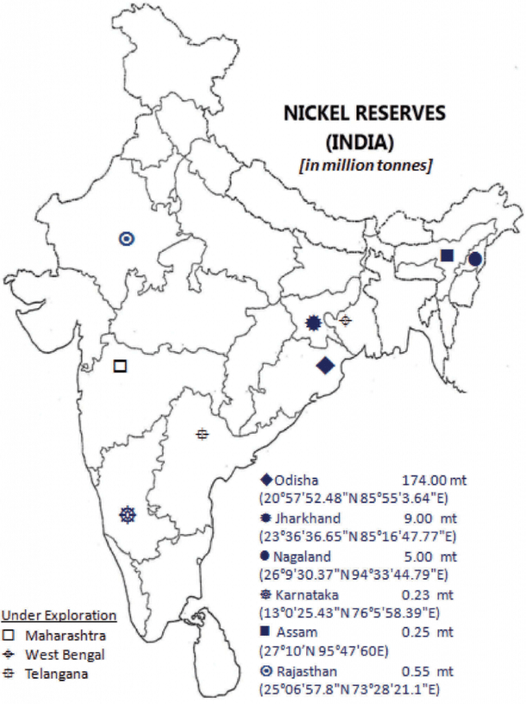 Nickel reserves in india upsc map