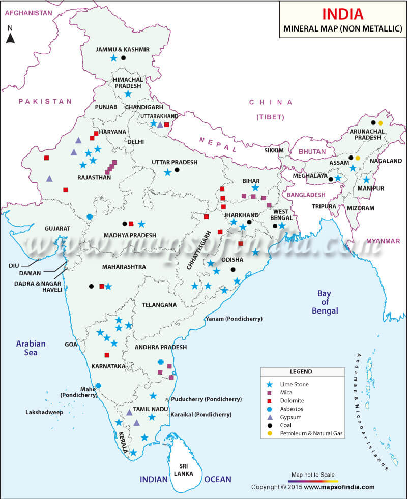 Mica Reserves in India - non metallic minerals in India UPSC map