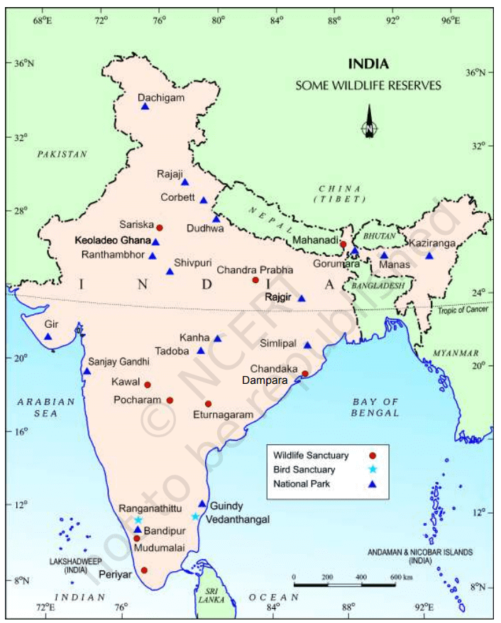 wildlife resources in india map