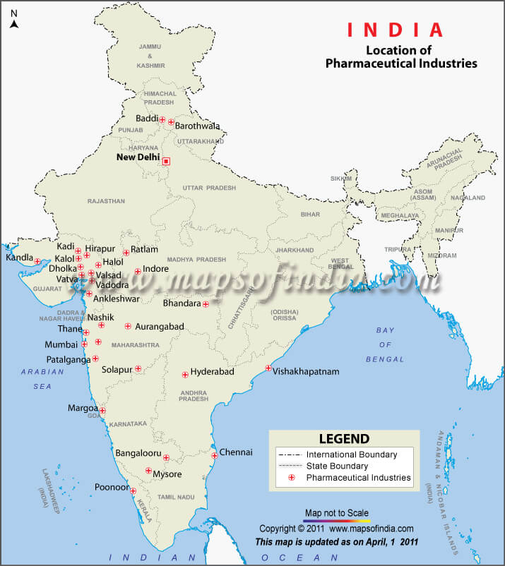 drugs and pharmaceutical industry in india map