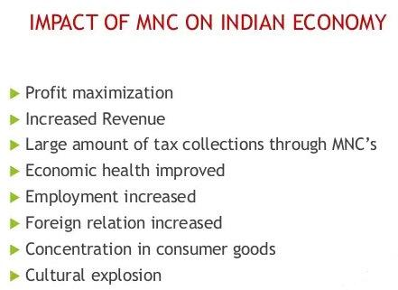 impact of multinational companies on Indian economy