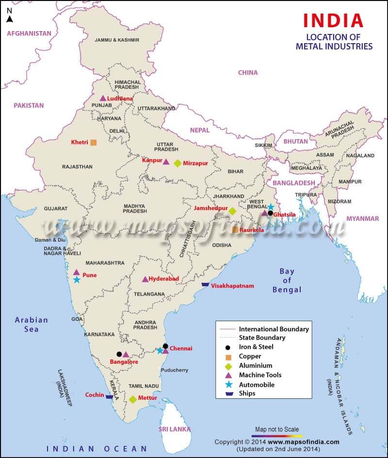 india-map-of-metal industry