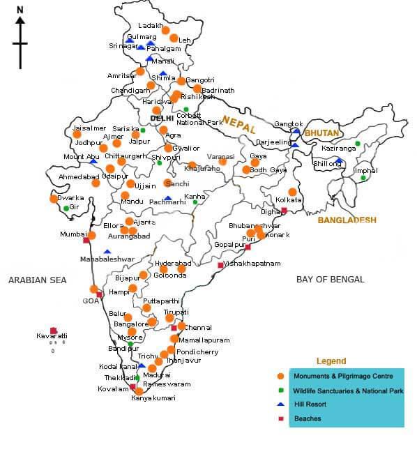 india tourism map