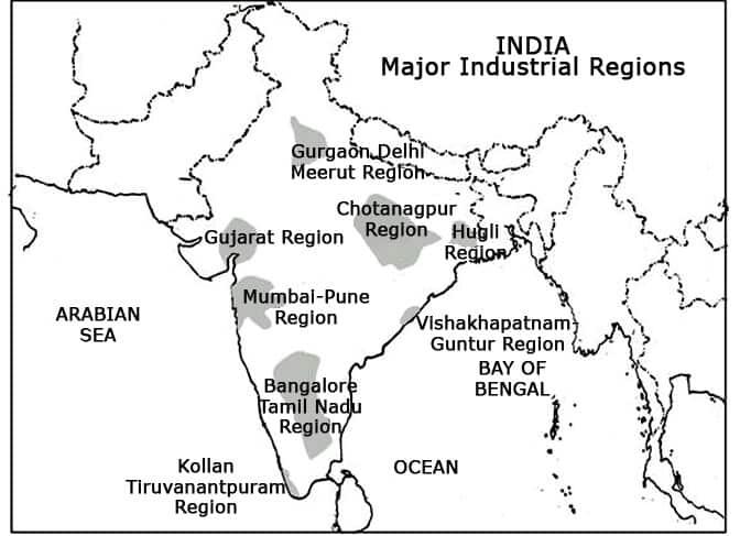 industrial regions of India UPSC