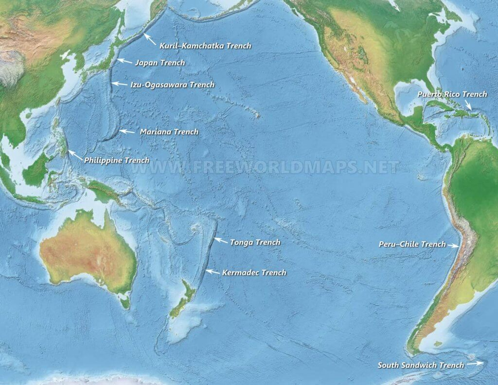 oceanic trenches in the world upsc