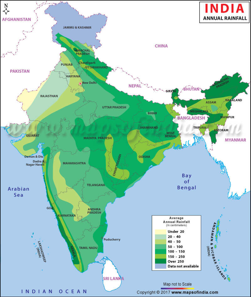 rainfall pattern in india