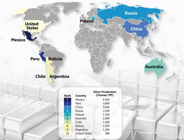 silver reserves region in the world