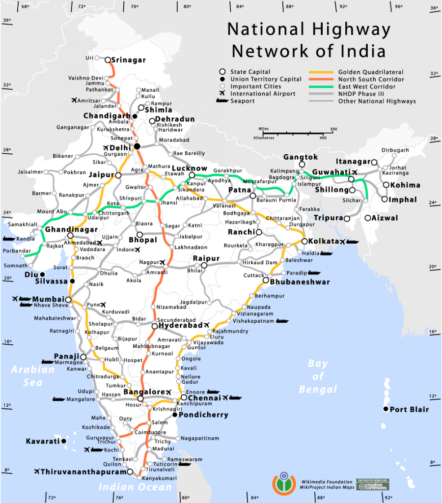 National highway network of India map